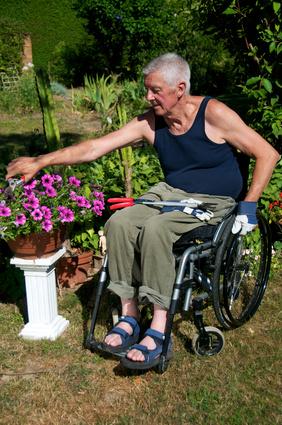 Ergotherapie in der Geriatrie, Rentner Rollstuhl Gartenarbeit